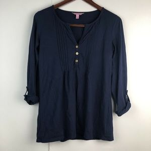 Lilly Pulitzer Long Sleeve Roll Tab Navy Blouse